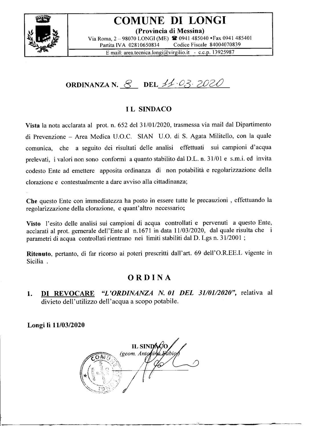 Revoca ordinanza n.1 del 31 Gennaio 2020 relativa al divieto dell'utilizzo dell'acqua a scopo potabile
